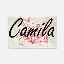Camila Artistic Name Design with Flowers Magnets