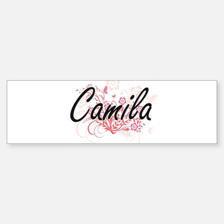 Camila Artistic Name Design with Fl Bumper Bumper Bumper Sticker