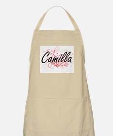 Camilla Artistic Name Design with Flowers Apron