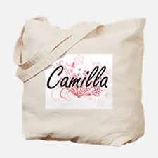Camilla Artistic Name Design with Flowers Tote Bag