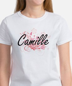 Camille Artistic Name Design with Flowers T-Shirt