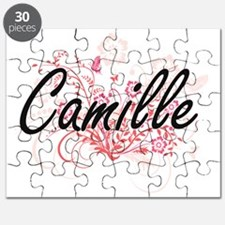 Camille Artistic Name Design with Flowers Puzzle