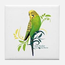 Green Parakeet Tile Coaster