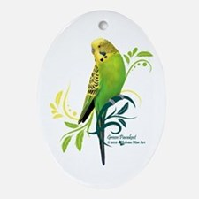 Green Parakeet Oval Ornament