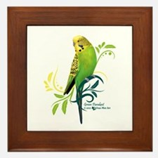 Green Parakeet Framed Tile