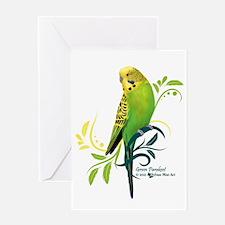 Green Parakeet Greeting Cards