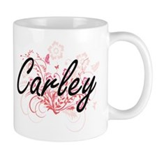 Carley Artistic Name Design with Flowers Mugs