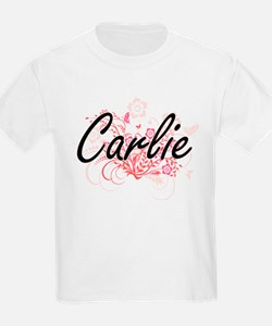 Carlie Artistic Name Design with Flowers T-Shirt
