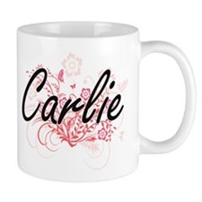 Carlie Artistic Name Design with Flowers Mugs