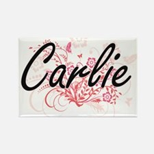 Carlie Artistic Name Design with Flowers Magnets