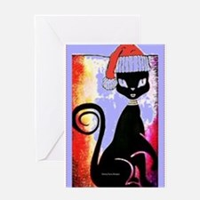 Santa Diva Cat Purple Card Greeting Cards