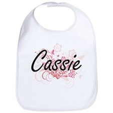 Cassie Artistic Name Design with Flowers Bib