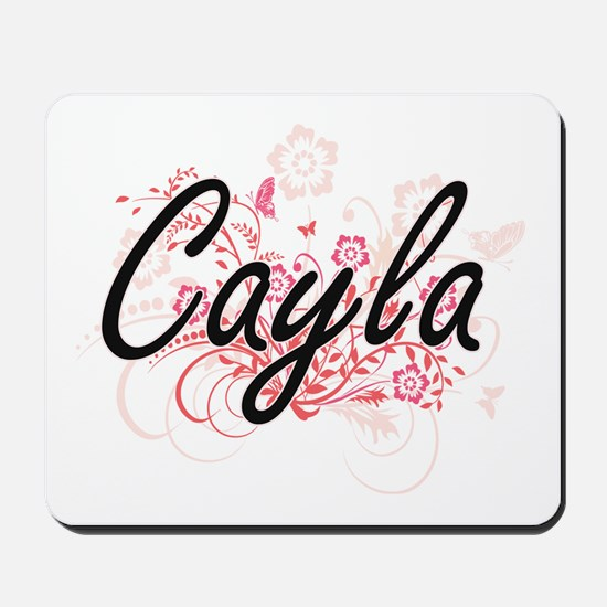 Cayla Artistic Name Design with Flowers Mousepad