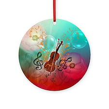 Violin with violin Round Ornament
