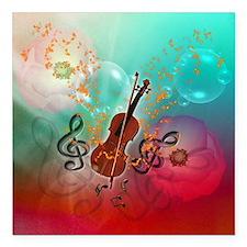 "Violin with violin Square Car Magnet 3"" x 3"""
