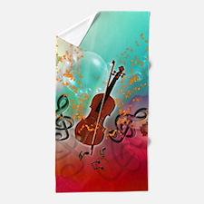 Violin with violin Beach Towel