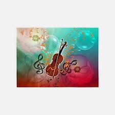 Violin with violin 5'x7'Area Rug