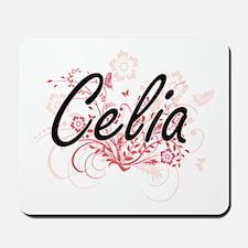 Celia Artistic Name Design with Flowers Mousepad