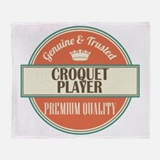 croquet player vintage logo Throw Blanket