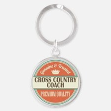 cross country coach vintage logo Round Keychain