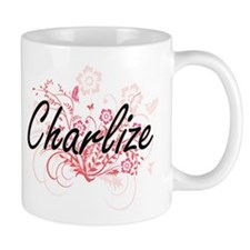 Charlize Artistic Name Design with Flowers Mugs