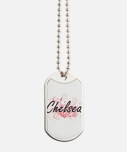 Chelsea Artistic Name Design with Flowers Dog Tags