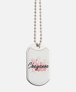 Cheyanne Artistic Name Design with Flower Dog Tags