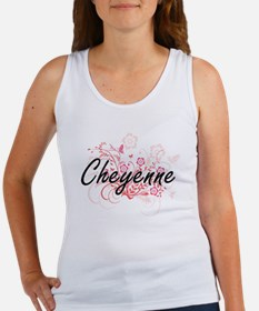 Cheyenne Artistic Name Design with Flower Tank Top