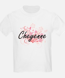 Cheyenne Artistic Name Design with Flowers T-Shirt