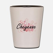 Cheyenne Artistic Name Design with Flow Shot Glass