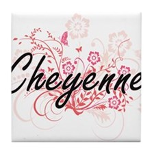 Cheyenne Artistic Name Design with Fl Tile Coaster