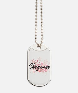 Cheyenne Artistic Name Design with Flower Dog Tags