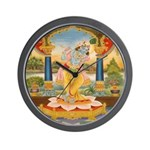 Krishna On Lotus Blossom Wall Clock