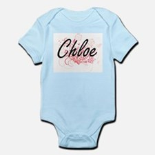 Chloe Artistic Name Design with Flowers Body Suit