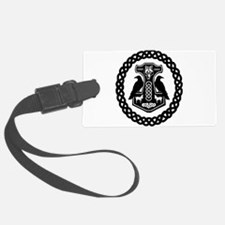 Thor's Hammer in Celtic Knot Circle Luggage Tag