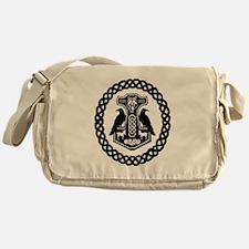 Thor's Hammer in Celtic Knot Circle Messenger Bag