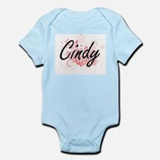 Cindy Artistic Name Design with Flowers Body Suit