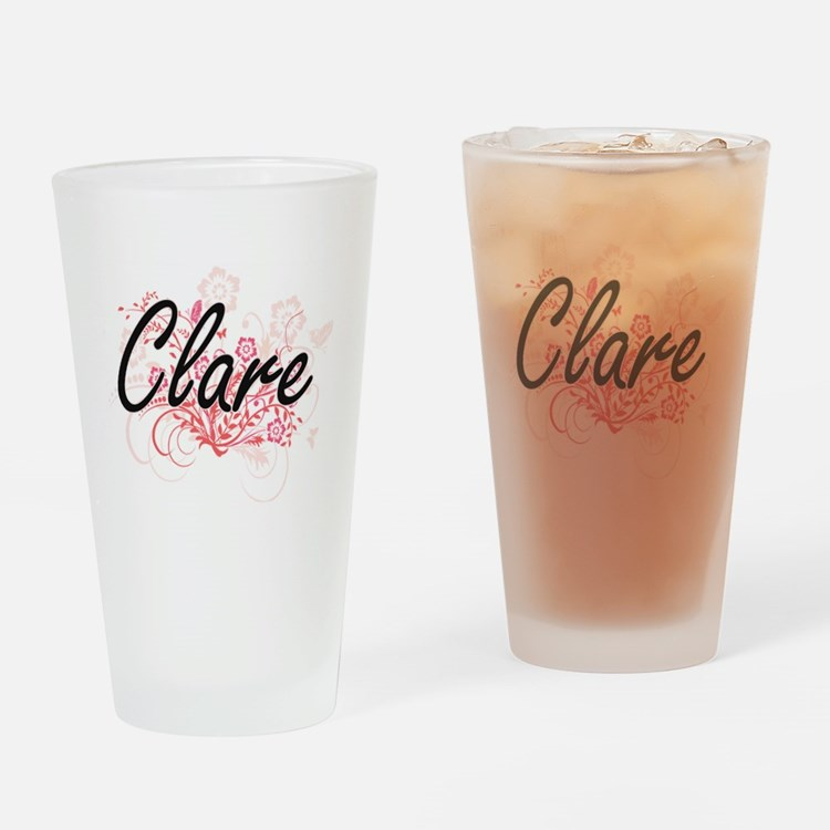 Clare Artistic Name Design with Flo Drinking Glass