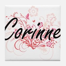 Corinne Artistic Name Design with Flo Tile Coaster