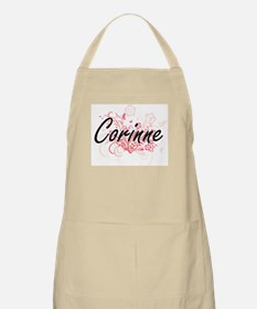 Corinne Artistic Name Design with Flowers Apron
