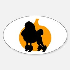 Poodle Halloween Oval Decal