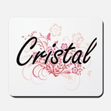 Cristal Artistic Name Design with Flower Mousepad