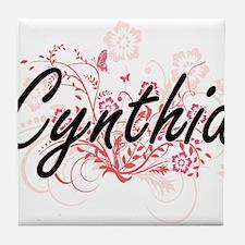 Cynthia Artistic Name Design with Flo Tile Coaster