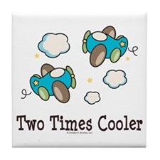 Cooler Twin Boys Airplane Tile Coaster