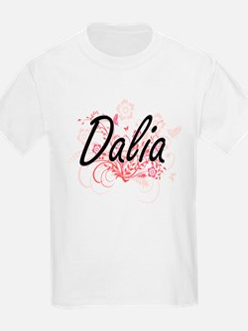 Dalia Artistic Name Design with Flowers T-Shirt