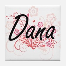 Dana Artistic Name Design with Flower Tile Coaster
