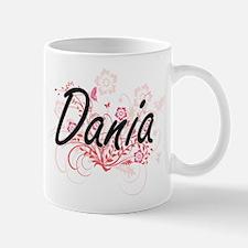 Dania Artistic Name Design with Flowers Mugs