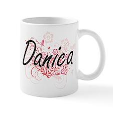 Danica Artistic Name Design with Flowers Mugs