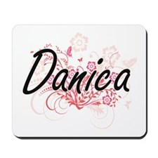 Danica Artistic Name Design with Flowers Mousepad