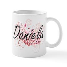 Daniela Artistic Name Design with Flowers Mugs